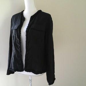 Chico's Black Linen Ruffle Open-front Jacket 8/10